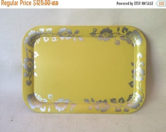 ON SALE Vintage Mid Century Set of 7 Social Supper Trays of Coshocton Ohio Yellow Silver Flowers