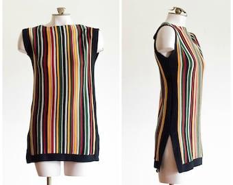 1970s sleeveless striped sweater tunic
