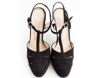 Italian black suede t-strap slingbacks SIZE 7 B