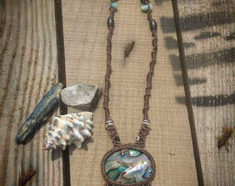 Abalone Shell + Macrame Necklace