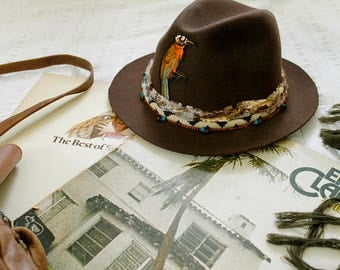 Wool hat Brown felt hat Vintage style Fedora hat Womens hat Cowboy hat Designer Western hat Wide brim fedora Flecked hat