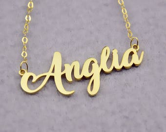 Gold Name Necklace,Personalized Name Jewelry,Nameplate Jewelry,Cursive Name Necklace,Custom Name Necklace,Christmas Gift,Name Pendant N174