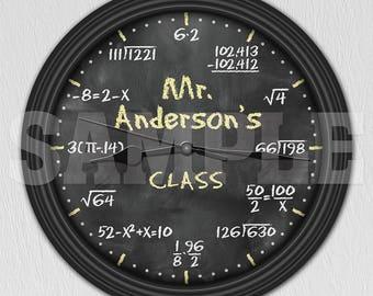 Math Equation Chalkboard Personalized Decorative Wall Clock - Teacher Gift ITEM#020