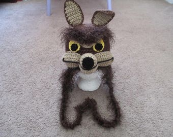 Coyote Crocheted Hat--Made to order
