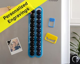 Personalized Engraving Custom Quote Gift Azure Blue Nespresso Coffee Capsules Holder Storage Magnetic Wall Mount Organizer Coffee Lover Gift