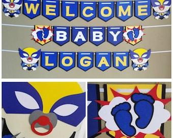 Wolverine Baby Shower Banner, Logan Baby Shower , Wolverine Baby Shower