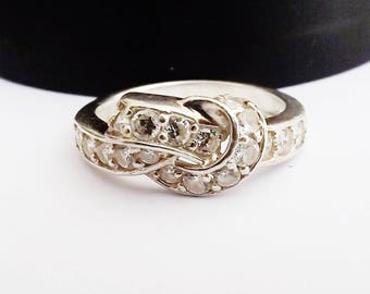 Sterling Silver 925 Diamonique Ring DQ CZ Designer signed Infinity Love Knot Promise Wedding Engagement Push Present Anniversary Size 8