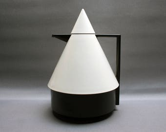 Vintage 1980s designer black and white EMSA plastic thermos, Model RIO, Atomic design