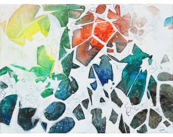 On Exhibition-abstract watercolor 24x18in;45x60cm;original painting on canvas-Through the Forest Web-white painting;colorful;modern;gift
