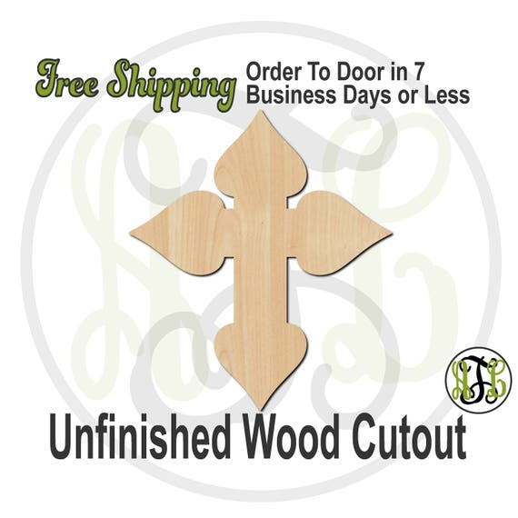 Cross 5- 290036- Religious Cutout, unfinished, wood cutout, wood craft, laser cut shape, wood cut out, Door Hanger, wooden, ready to paint