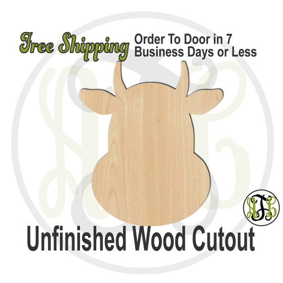 Cartoon Cow Head- 250005- School Spirit Cutout, unfinished, wood cutout, wood craft, laser cut shape, wood cut out, Door Hanger, wooden