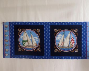 Sailboat nautical  2 pillow panel fabric VIP Joan Messmore and each panel is 14 1/2 inches by 14 1/2 inches and is vintage.