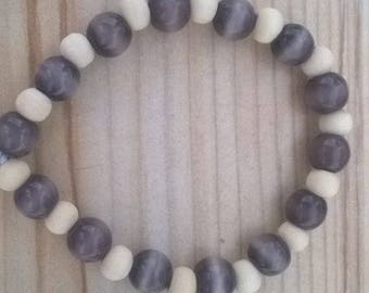 Banded Amethyst and Beech wood Bracelet