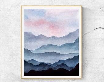 Mountains Art, Contemporary Art, Mountain Painting, Modern Art, Blue Mountains, Abstract  Art, Mountains Art Print, Mountain Art Print