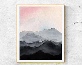 Abstract Mountain Watercolor Print,  Watercolor Print, Mountain Art, Abstract Landscape Print, Modern Wall Art, Mountains Wall Art