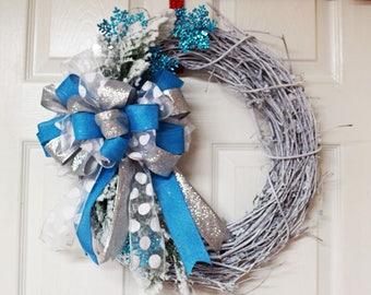 Grapevine Winter, Christmas Wreath, Winter Blue and Silver Wreath, White Grapevine Winter Wreath