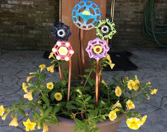 Hand painted vintage faucet handle steampunk/industrial garden stakes made with reclaimed copper flower garden stakes