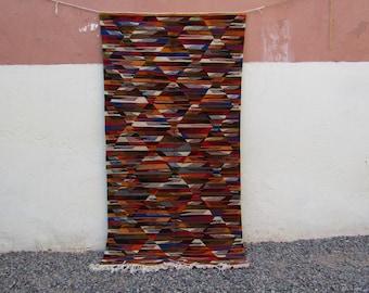 Patchwork Moroccan rug  Vintage Moroccan Middle Atlas Berber flat Kilim Rug Kelim Berber Handmade Woven Atlas Wool Authentic Kilim
