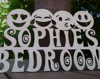 Personalised Children Door Sign / Plaque - Emoji Theme