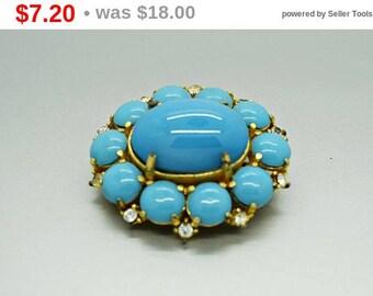 Vintage Robin Egg Blue Glass Cabochon Brooch B5050