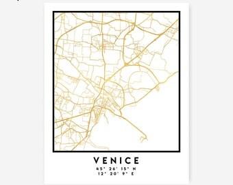Venice Map Coordinates Print - Italy City Street Map Art Poster, Gold Venice Map Print, Venice Italy Coordinates Italian Poster print Map
