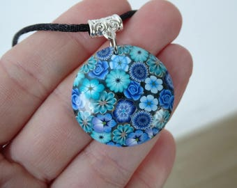 Blue fimo polymer clay floral pendant necklace