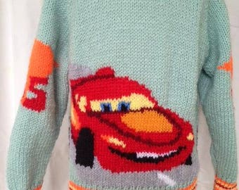 Hand knitted Car with Face, Finish Line and Lightning Bolts Sweater