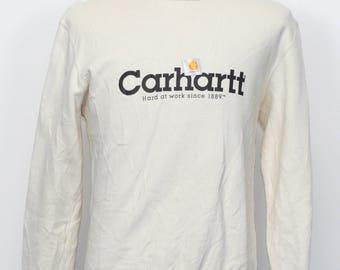 Vintage Work Shirt Carhartt Sweatshirt crew Neck  Spellout  Big Logo