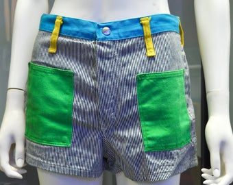 1970s Peter Max Wrangler railroad stripe color block denim shorts