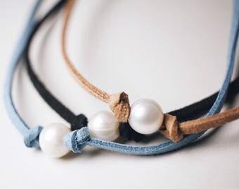 Pearl suede chokers, Freshwater Pearls, Pearl Choker, Chokers