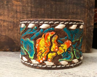 Distressed Painted Tooled Leather Cuff
