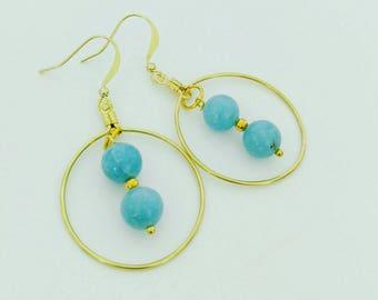 Aquamarine and Gold Beaded Earrings~Handmade Earrings~Dangle Earrings~Ladies Earrings~Handmade Jewelry~Custom Jewelry~Beaded Earrings