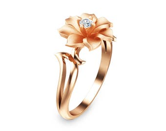 Unique Diamond Engagement Ring in 14K Rose Gold  Leaf and Flower Solitaire Ring Nature Inspired Engagement Ring