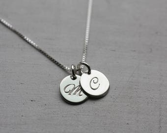 Initial Charm Necklace, 1 2 3 4 5 Silver Disc Necklace, Sterling Silver Necklace, Custom Necklace, Monogram Necklace, Personalized Necklace