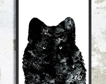 Wolf Watercolor Art Print Black wolf painting Wolf poster Wolf wall art boy room decor Animal poster Wolf nursery Animal print