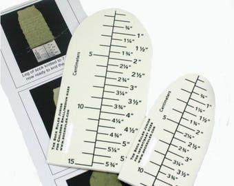 The Junior Sock Ruler - both metric & imperial measurements.