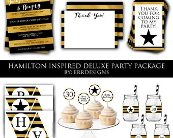 Hamilton Inspired Deluxe Party Package, Hamilton Invitation, Hamilton Birthday, Hamilton Party, Hamilton Birthday Party