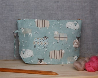 Extra large knitting project bag, sheep project bag; sweater bag, crochet, yarn bag, zipper bag, uk, gift for knitter