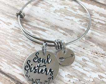 Soul Sisters  | Expandable bangle | Hand stamped | arrow jewelry | Best Friend Gifts | Best Friend jewelry | Friend | Sister | BFF, My tribe