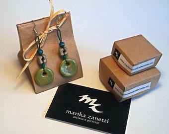 orecchini pendenti etnici arancioni marroni verdi fatti a mano handmade limited edition regali personalizzati per lei donna fatti a mano top