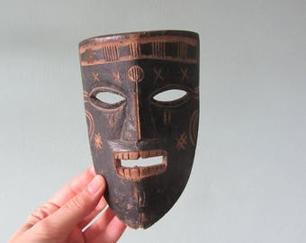 small woden african mask vintage wall hanging sculpture hand carved scary face primitive