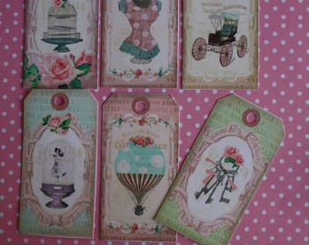 Set of 12 tags shabby chic for your creations. Pattern matched