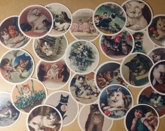 Victorian vintage style 20 lovely round sticky tags with images of cats