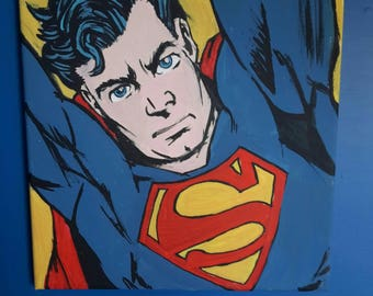 Picture popart, superman, superhero, design, furniture, acrylic on canvas hand painted, made in Italy, furniture, comic books, decor home