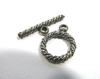 Toggle clasp, Sterling Silver, ring 15mm, toggle 20mm, Jewelry supply B-3071