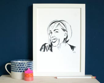 Personalised Ink Portrait to print on your own paper, your custom portrait rendered in ink and digitised for you to use any way you wish. A4