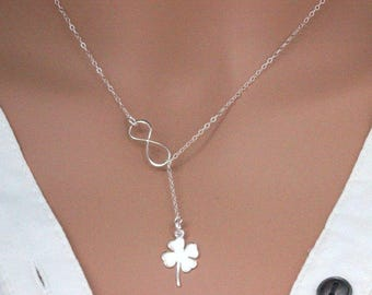 Four Leaf Clover Necklace in Sterling Silver, Shamrock for Good Luck, Graduation Gift Jewelry , Four leaf clover Infinity Lariat  necklace