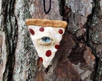 pizza necklace, pizza jewelry, mystic eye pizza, food jewelry, pizza jewelry, polymer clay pizza, mystic eye necklace, mystic eye jewelry
