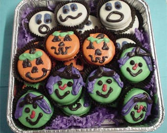 24 Halloween chocolate dipped Witches Ghosts Pumpkins cookies