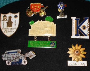 7 Vintage Enamel  Lions Club State Pins Kansas